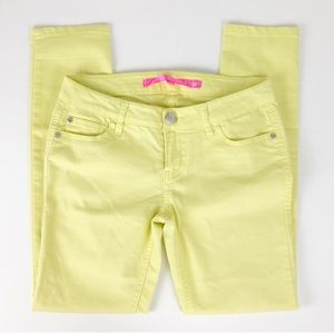 Tinseltown neon yellow crop jeans